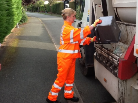 Working with one of our refuse-collection and recycling teams in Wrexham.