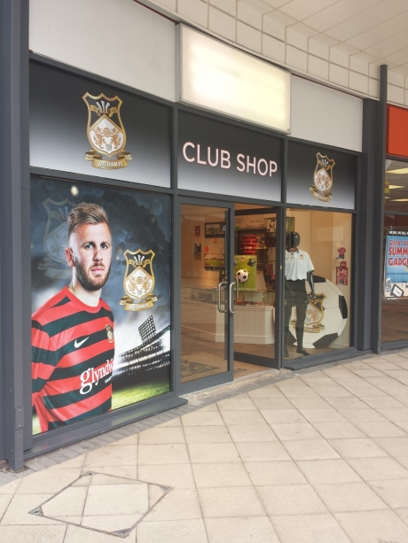 Wrexham FC pop-up shop in Eagles Meadow.